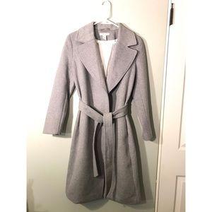 H&M wool blend knee length tie long coat grey